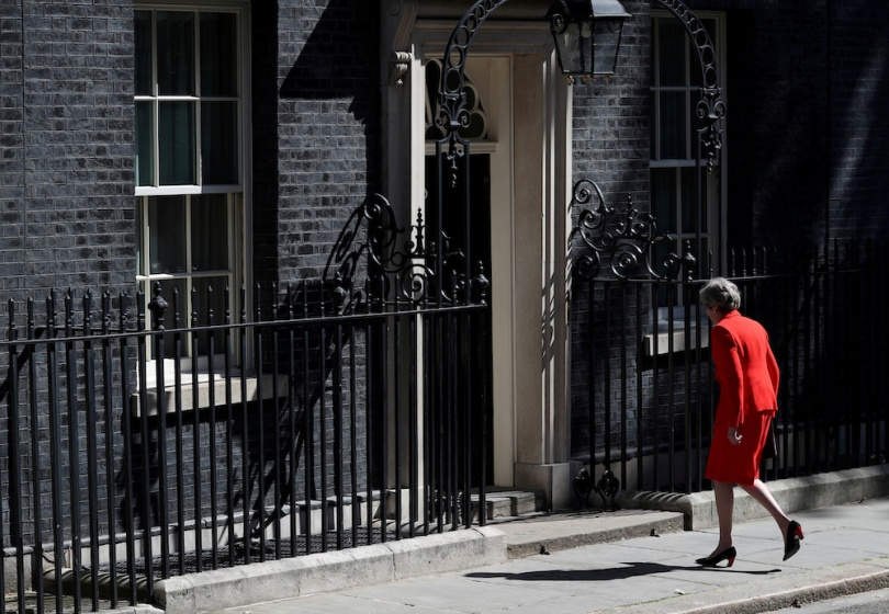 FILE PHOTO: British Prime Minister Theresa May makes a statement